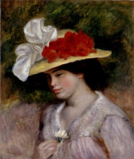 Painting of Victorian Woman in a Flowered Hat with white sating bow and red flowers by Pierre-Auguste Renoir, 1889. Image: Wikipedia.