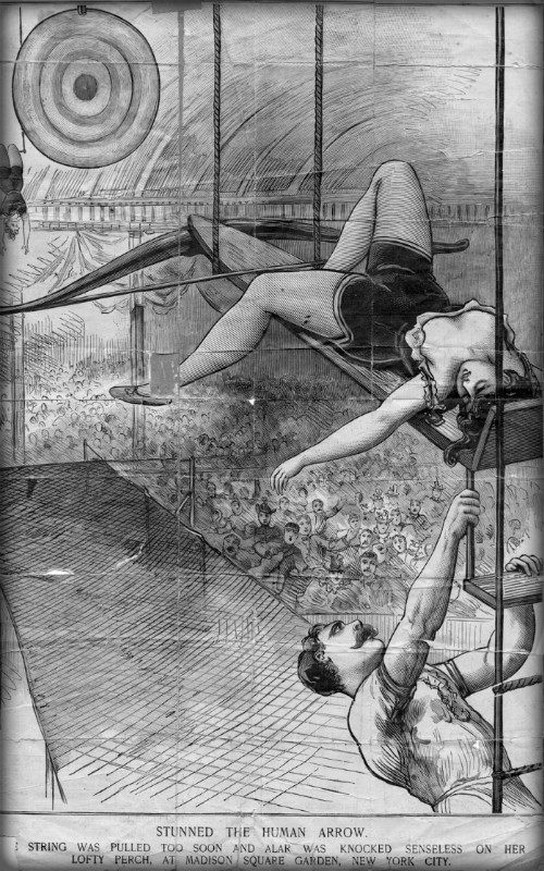 Flying Zedoras Human Arrow Drawing of Newspaper Accident .1897. Image: Wikimedia.
