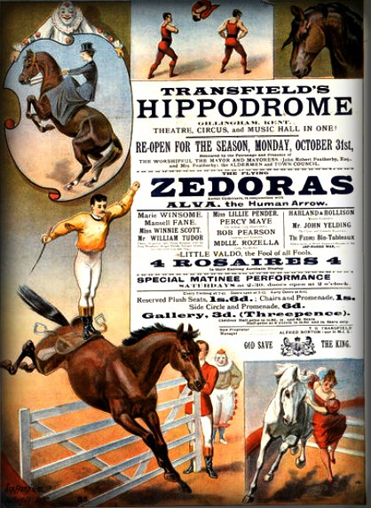Flying Zedoras Human Arrow Poster fro the Hippodrome with horse acts and text that says Zedoras c. 1890s. Image: Victoria and Albert Museum.