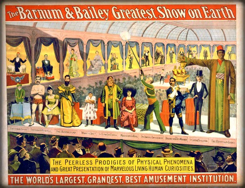 full color Barnum and Bailey Poster Featuring ten Psychic Prodigies, 1899. Image: Ddicksson; Wikipedia.