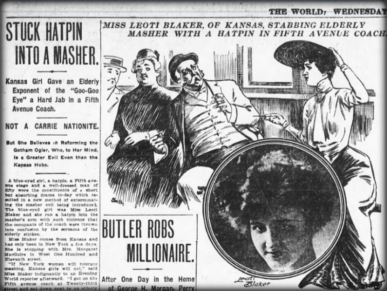 Dangerous Victorian Hatpins: The World, May 27. 1908.