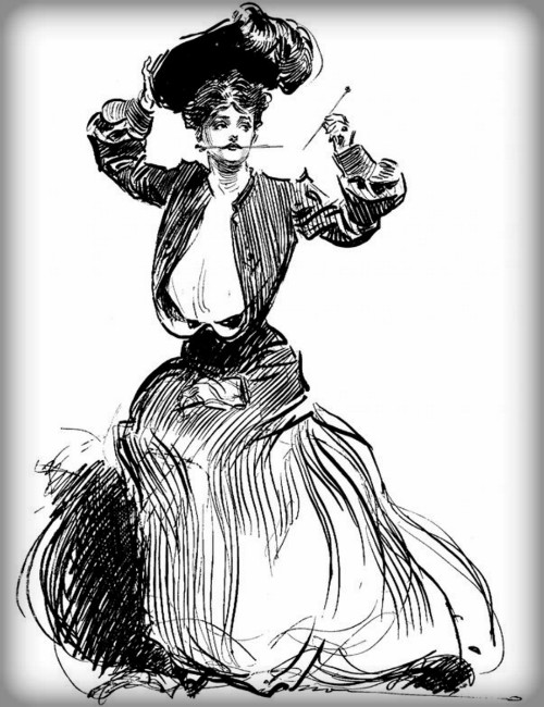Dangerous Victorian Hatpins: Gibson Girls Magnifying Glass, 1904 by Charles Dana Gibson. Image: Library of Congress.
