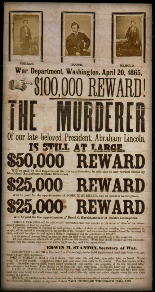 John Wilkes Booth Wanted Poster. Image: Wikimedia.