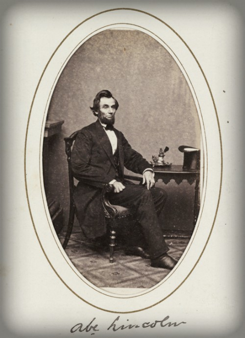 Victorian Cabinet Cards, Abraham Lincoln, 1863. Image: scienceandmediamuseum.org.uk.