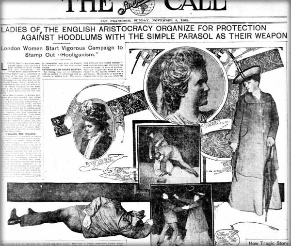 Victorian Umbrella Defense: San Francisco Call, November 8, 1903.