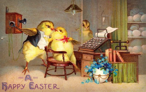 Easter Chicks At Desk. Image: BBC.com.