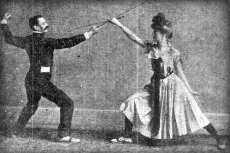 Victorian Umbrella Defense: How To Defend Yourself: San Francisco Call, 1902. Image: MartialArtsNewYork.org.