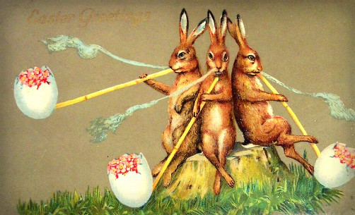 Quirky Victorian Easter Cards: Smoking Easter Bunnies. Image: BBC.com.