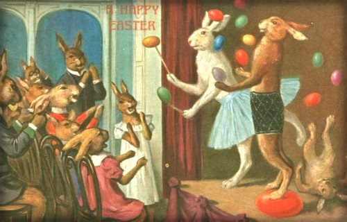 Quirky Victorian Easter Cards: Juggling Bunnies, 1909. Image: New York Public Library.