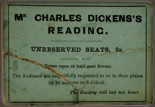 Charles Dickens's Reading Ticket.