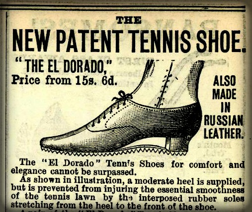 Newspaper ad drawing of Patent Victorian Tennis Shoe Ad. Image: Kenneth Ritchie Library, All England Lawn Tennis Club.
