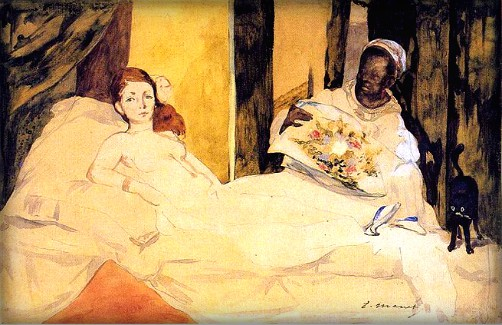 Two Manet Models: Study of Olympia by Edouard Manet. Image: Wikipedia.