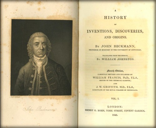 A History of Inventions, Discoveries and Origins by Johann Beckmann, 1737.
