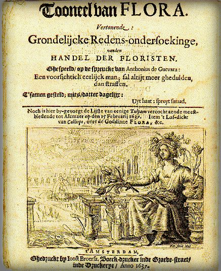 Pamphlet from Dutch tulip mania, 1637. Image Wikipedia.