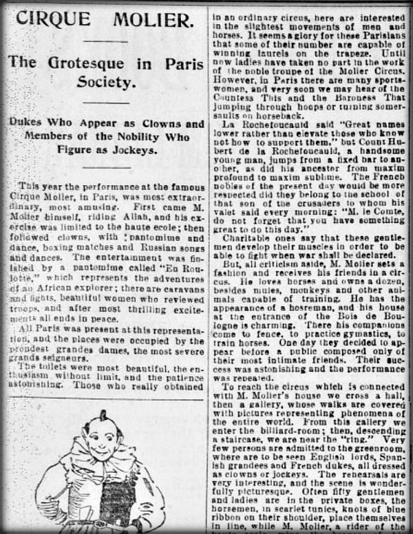 Cirque Molier In San Francisco Call, August 5, 1894. Image: https://cdnc.ucr.edu/.