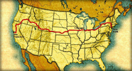 Map with line crossing from San Francisco to New York via Idaho.