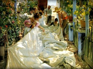Painting of three Spanish women and two men sewing a large white sail that is outspread in a garden.