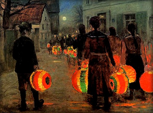 The Lantern Parade in Snow by Anne Sophie Petersen-Image: the-athenaeum.org.