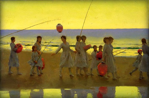 The Sand Bar by Thomas cooper Gotch. Image: the-athenaeum.org.