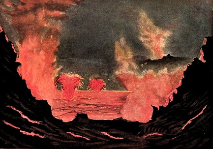 Kilauea Eruption by Dr. Adolf Markuze, 1891. Image: Wikipedia.