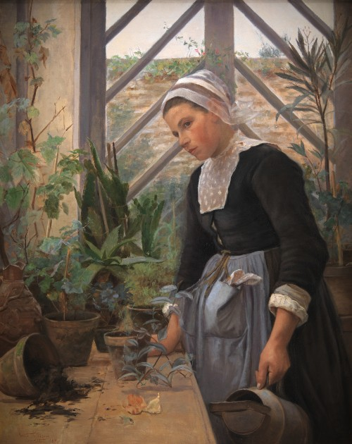 Brittany Girl Arranges Plants in a Greenhouse, 1884 by Anne Petersen. Image: the-athenaeum.org.