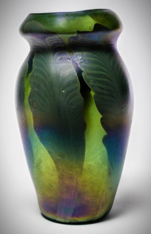 Favrile Glass Fern Vase by Tiffany c. 1900. Image: Huntington Museum.