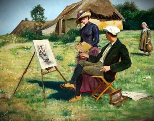 young male painter sitting on stool at canvas as young woman admires his work with cottage in background.-a-woman-admiring-the-days-work by Anne Petersen. Image: the-athenaeum.org.