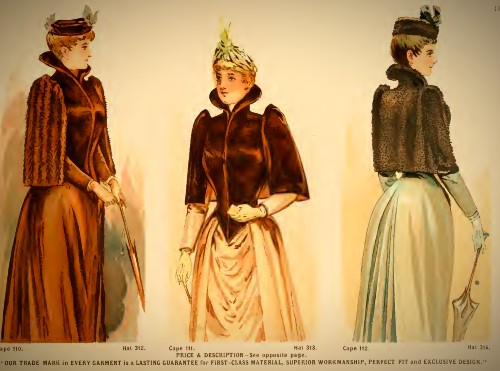 Deutsch & Company Short Capes, Hats and Dresses, 1891. Image: Original Catalogue-Archive.org.