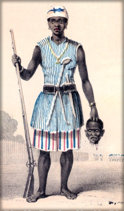 Seh-Dong-Hong-Beh,Female leader ofDahomey Amazons, by Captain Forbes. Image: Wikipedia.