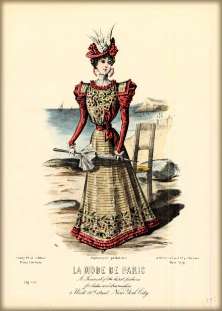 Gay Nineties Fashion Illustration of Illustration of a high-collared red and tan striped dress with cherry designs.