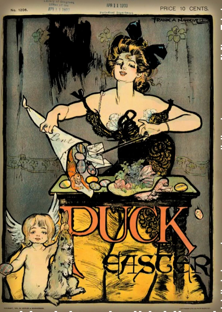 Art Nouveau Woman Performs Easter Magic, Puck Magazine, 1900.Image: Library of Congress.