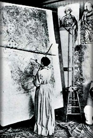 Tiffany Studio-Making Cartoons For Stained Glass Window, c. 1890s. Image: arcadiasystems.org.