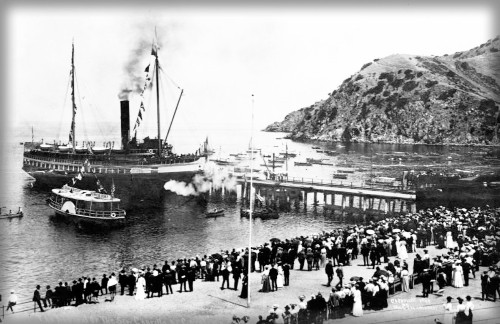 Boating Past Sugarloaf, Avalon, 1904. Image: Water And Power.org.