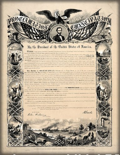 1864 reproduction of the Emancipation Proclamation with drawings of slavery around border.