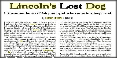 Life Magazine Article by Dorothy Meserve Kunhardt. Image: Life Magazine.