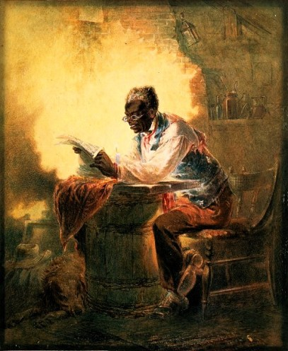 """1863 watercolor of Black man reading newspaper by candlelight. Note: Man reading a newspaper with headline, """"Presidential Proclamation, Slavery,"""" which refers to the Jan. 1863 Emancipation Proclamation."""