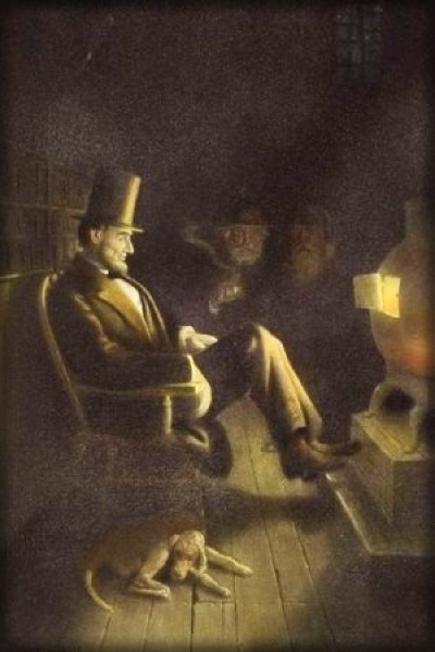 Painting of Lincoln By Fire With Dog, Probably Fido. Image: Indiana Historical Society.