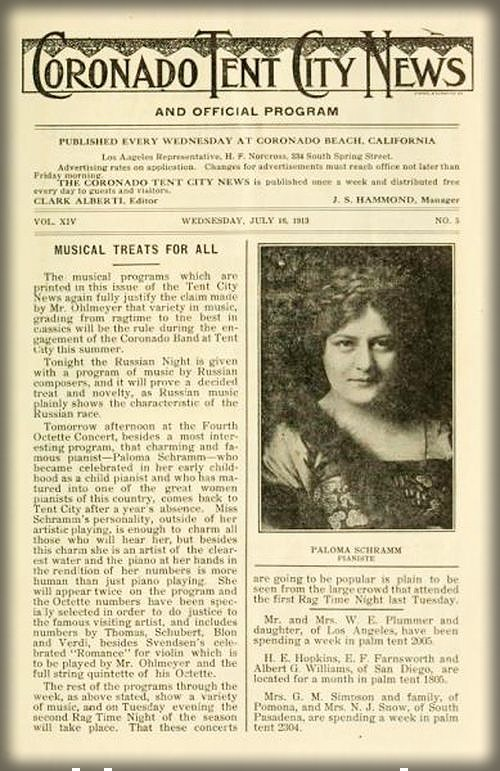 Coronado Tent City News. c.July, 1913. Image: cdnc.cdr.edu.