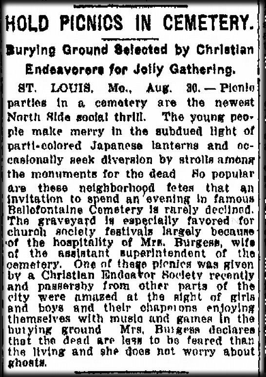 Jolly Gatherings Cemetery Ad, St. Louis, MO, August 30, 1917. Image: ConnectingDirectors.com-Industry Funeral News.