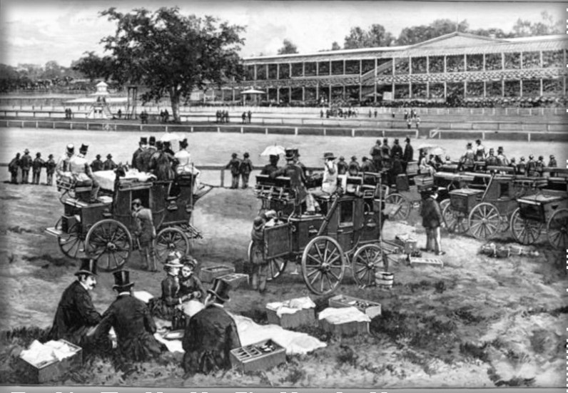 Coaches At Jerome Park On A Race Day, 1886. Image: Library of Congress.