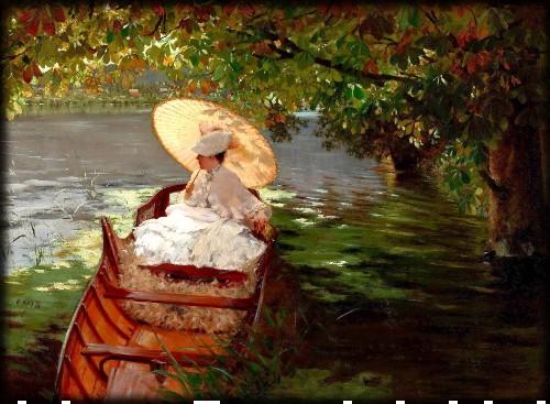 Woman In A Boat, c. 1876 by Giuseppe De Nittis. Image: Athenaeum.org.