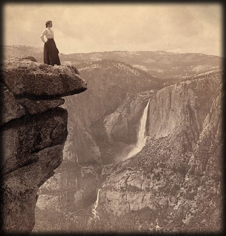 Woman at Glacier Point, c. 1902. Image: Library of Congress.