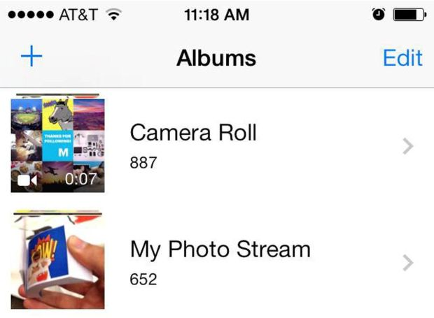 Screenshot of My Camera Roll and My Photo Stream on iPhone