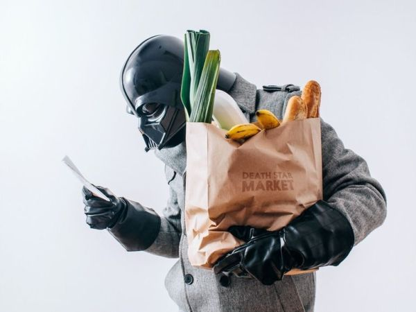 Darth Vader Goes To The Grocery Store Pawel Kadysz Death Star Market Fruits and Veggies Bananas Receipt Star Wars Black Leather Gloves Shopping
