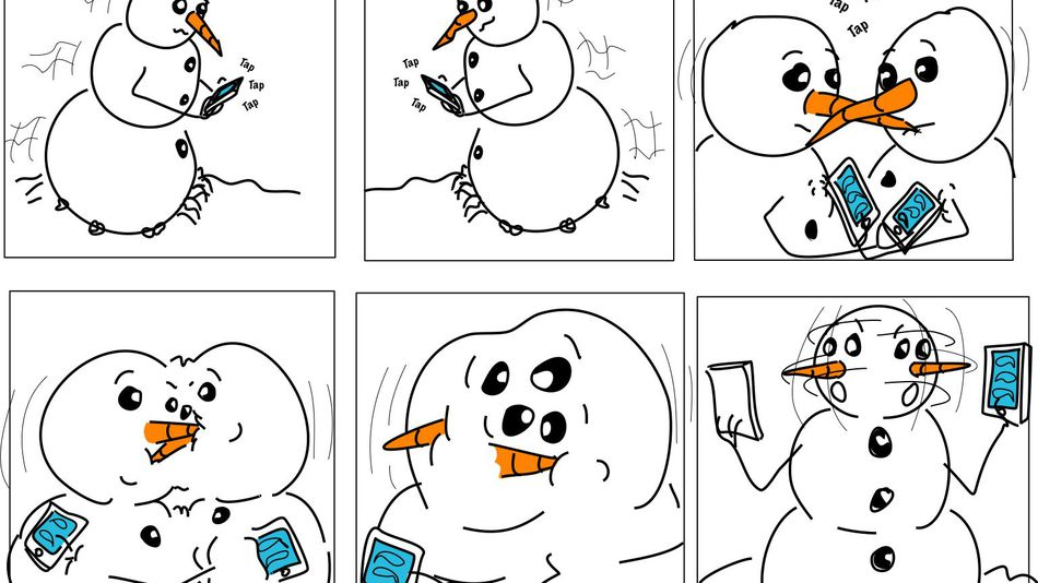 From Mashable 2011, Snowmen with mobiles.