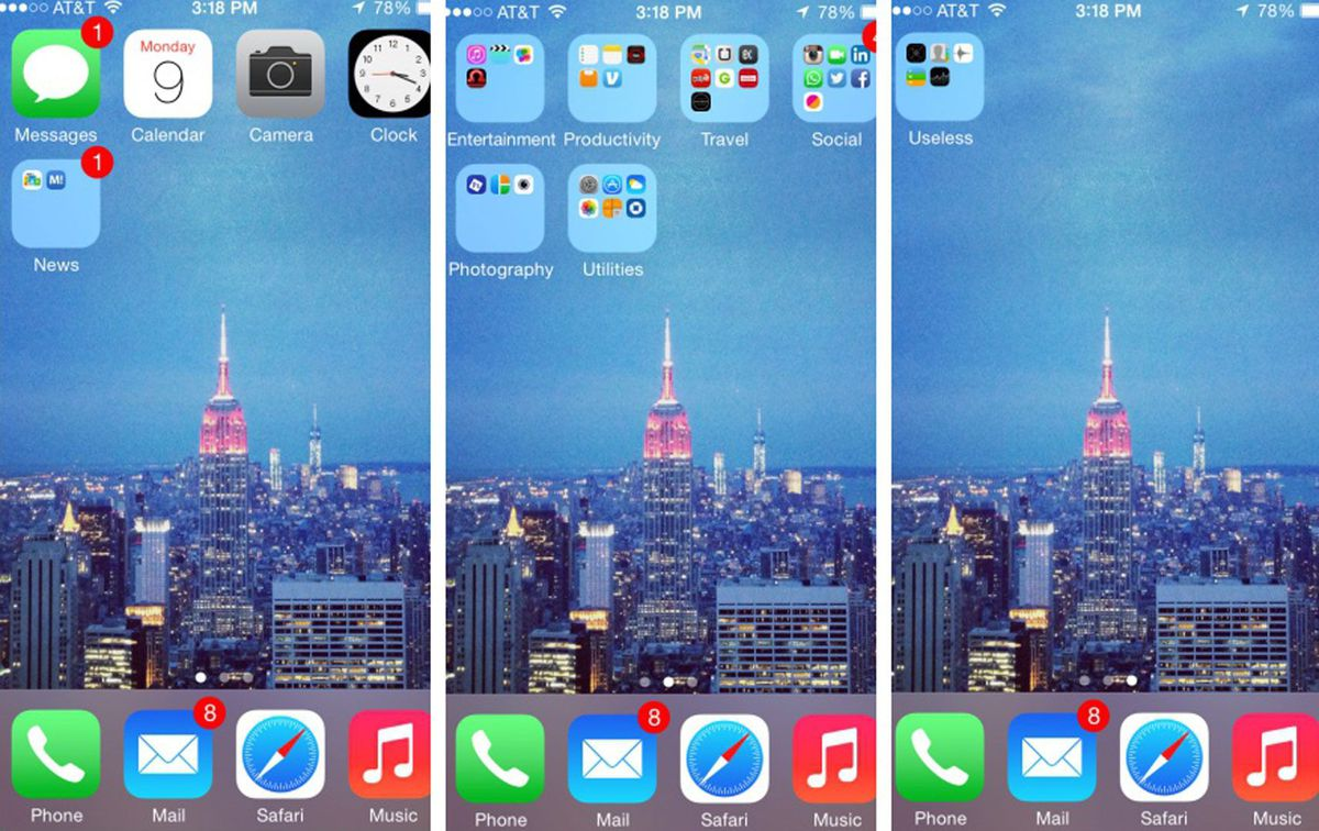 iPhone home screen pages  by frequency of usage