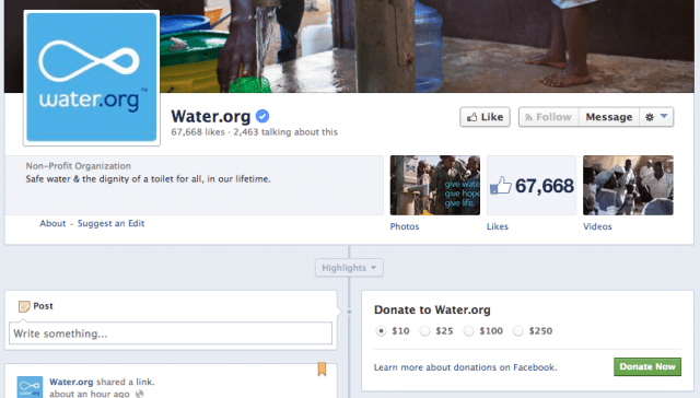 The donate button on the Water.org Facebook page.
