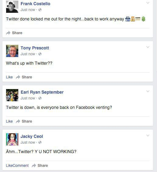 Twitter down reactions