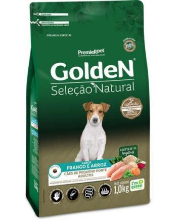 Ração Golden Seleção Natural Cães Adultos Raças Pequenas Mini Bits Frango & Arroz 1kg