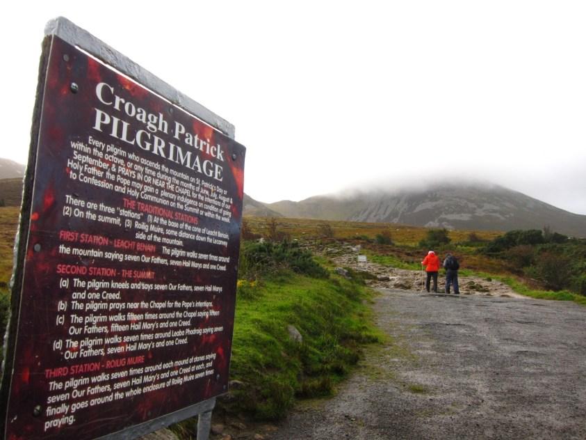 Panneau pèlerinage Croagh Patrick Mayo Irlande